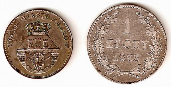 Awers 5 groszówki krakowskiej i rewers złotówki krakowskiej z 1835. Źródło: Wikipedia. Licencja: GNU.