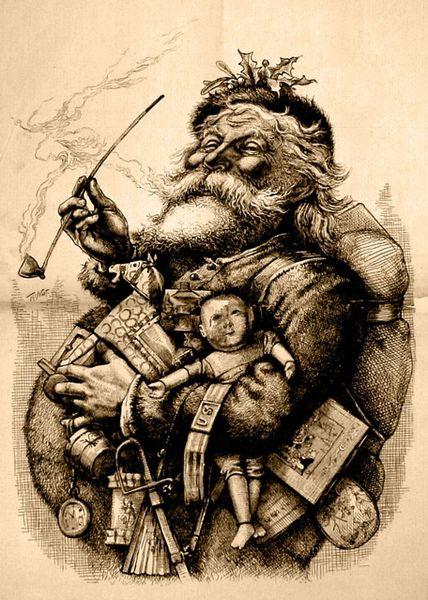 Santa Claus z 1881 r. Jeszcze z fajką