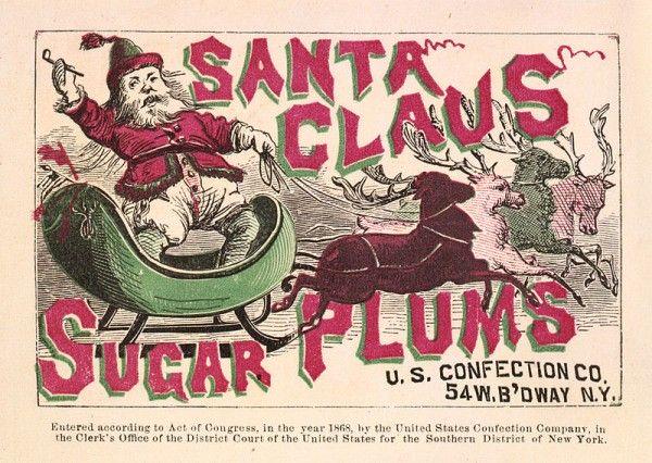 Amerykański Mikołaj w reklamie, rok 1868.
