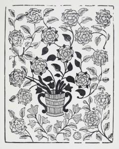 drzeworyt kołtryna kosz z kwiatami