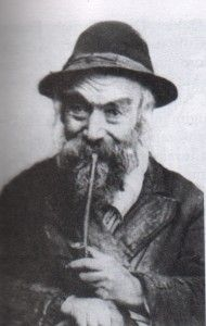 Mojżesz Aron Berger, leski szklarz, palący fajkę glinianą. Małopolska Galicja