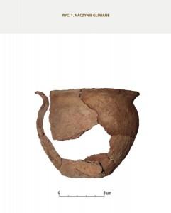 Naczynie gliniane odkryte wśród przepalonych kości, foto: Ł. Miechowicz.