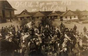 Drewniana zabudowa rynkowa w Niebylcu. Stan na 03 maja 1928 rok.