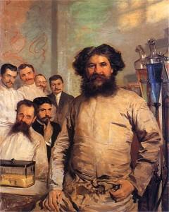 Portret Ludwika Rydygiera z asystentami