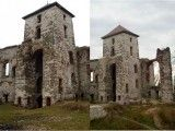 Brama Nawojowa na zamku Tenczyn przed i po renowacji.