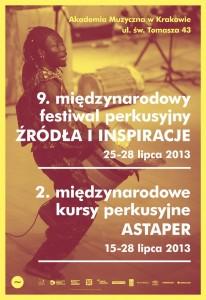 Plakat Międzynarodowego Festiwalu Perkusyjnego Źródła i Inspiracje