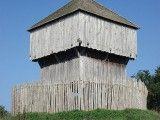 Rekonstrukcja gródka stożkowatego (zwanego także grodem na kopcu lub rezydencja rycerska typu motte) we Francji. Foto: Julien Chatelain, Wikimedia.
