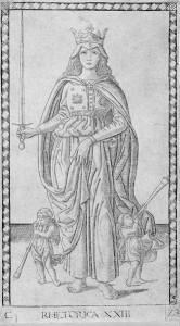 Karta tarota -personifikacja retoryki jako królowej siedmiu sztuk wyzwolonych. Foto: Wikipedia