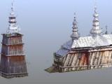 Chmura złożoną z 241 mln kolorowych punktów odwzorowująca cerkiew w Turzańsku.