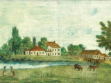 Widok pałacu w Medyce od strony zachodniej, ilustracja drukowana na papierze czerpanym, akwaforta, Kajetan W. Kielisiński 1838r. (Zbiory Muzeum Ziemi Przemyskiej w Przemyślu, foto: Małgorzata Kaczor)