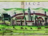 Sztych Brauna i Hogenberga przedstawiający Biecz z przełomu XVI i XVII.