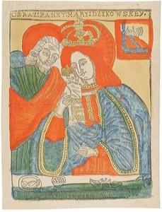 Matka Boska Dzikowska, drzeworyt kolorowany ręcznie