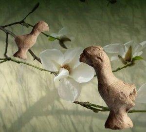 gliniany ptaszek z mogily