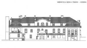Pełkinie rysunek inwentaryzacja fasady pałacu