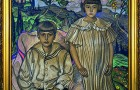 """Stanisław Ignacy Witkiewicz, """"Portret dwojga dzieci – Krystyna i Ludwik Fischerowie"""", 26 X 1925, pastel/papier beżowy, 109,5 x 99 cm, sygn. l.d. NP, 2P, NP2, P,NP1, 3P/1925 26 / X / Ignacy Witkiewicz"""